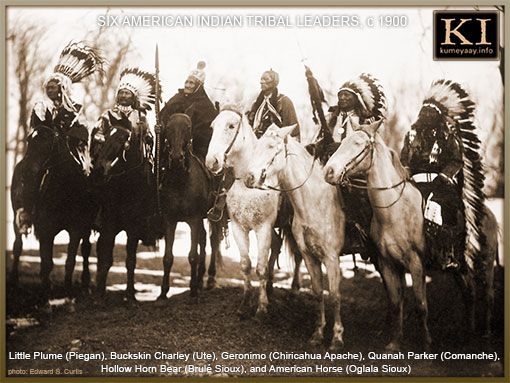 SIX 19TH CENTURY NATIVE AMERICAN LEADERS ON HORSEBACK (l-r) — Little Plume (Piegan), Buckskin Charley (Ute), Geronimo (Chiricahua Apache), Quanah Parker (Comanche), Hollow Horn Bear (Brulé Sioux), and American Horse (Oglala Sioux). Photo: Edward S. Curtis, circa 1900.