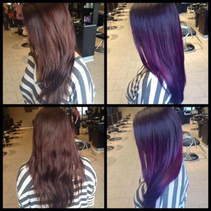 Formula A: 2.9 oz. VIVIDS Wild Orchid + 1.2 oz. VIVIDS Red + ½ oz. VIVIDS Violet + .3 oz. VIVIDS Magenta Formula B: 1 oz. Pravana VIVIDS Violet -1. Prelighten w/Pure Light Power Lighter & 30-vol developer. Use backcomb ombré technique for prelightening. 2. Wash w/ Sulfate Free Shampoo twice don't cond. Blow-dry until hair is dry. Apply VIVIDS color root to ends.  3. Apply Formula A all over, applying Formula B to ends. Blend w/ fingers, so two colors meet seamlessly. process at room temp 20…