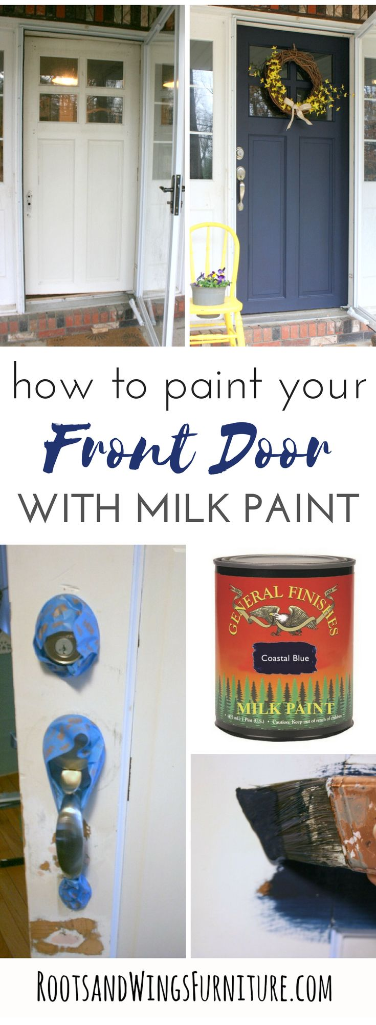 How to refurbish an old front door with a fast and easy makeover. Use General Finishes Milk Paint to transform your front door.  Coastal Blue front door makeover by Jenni of Roots and Wings Furniture.