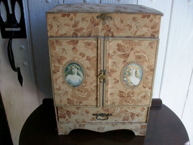 Antique French Fabric Box Cabinet Chest Drawers Mirror Sewing Art Nouveau c1890