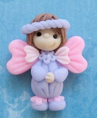 *POLYMER CLAY ~ Angel Polymer Clay Bead Flat Back Embellishment Lavender Purple