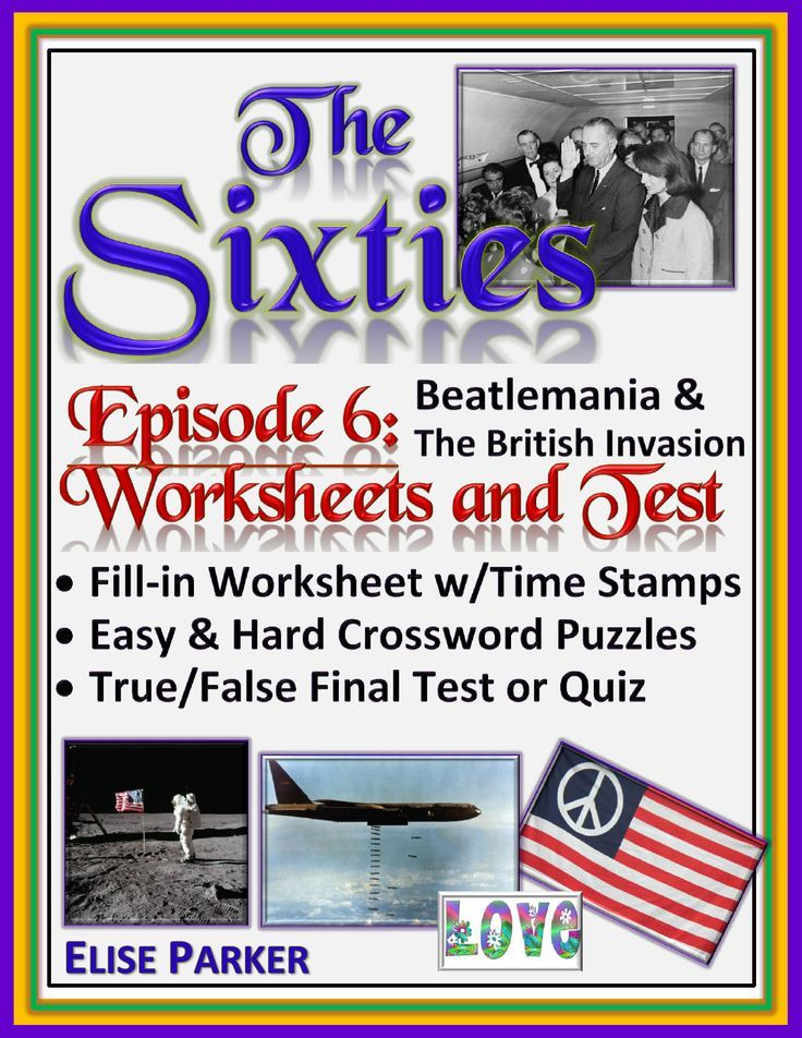 The Sixties Episode 6 Worksheets pack helps to bring history to life even as it gives both teachers and students a break from the book! Designed to go with the CNN The Sixties series, this fun worksheet pack has it all: crossword puzzles, cloze worksheets, and a true/false quiz so teachers can differentiate and personalize at a moment's notice. No prep, just print and go! This episode covers Beatlemania and the British Invasion -- a super fun digression into the history of popular culture!