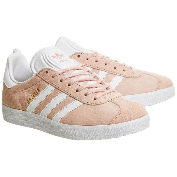 Gazelle Trainers by Adidas Supplied by Office ($105) ❤ liked on Polyvore featuring shoes, sneakers, pink, adidas, adidas sneakers, adidas shoes, pink sneakers and adidas trainers