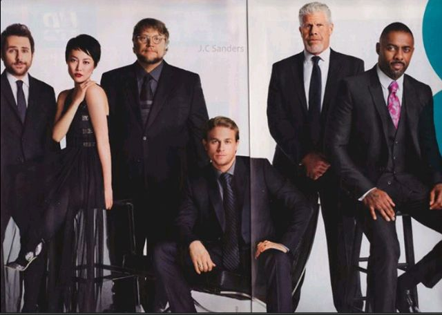 Pacific Rim cast and it's director. Yeah. That's Guillermo Del Toro third from the left.