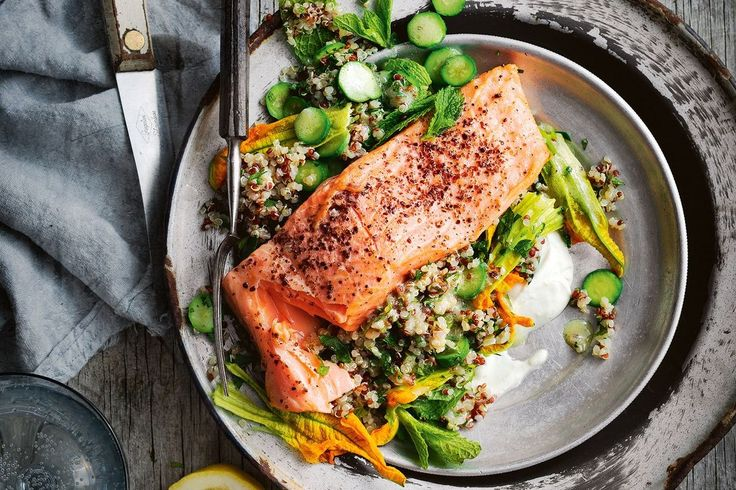 Could you possibly fit more superfoods into one meal? Beautiful zucchini flowers elevate this ocean trout and quinoa salad to culinary highs.