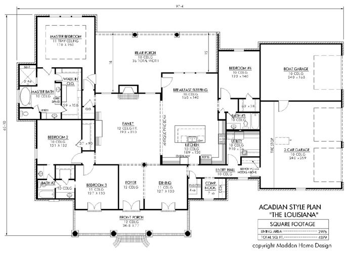 The Louisiana Floor Plan-that boat garage looks like a good wood shop area.