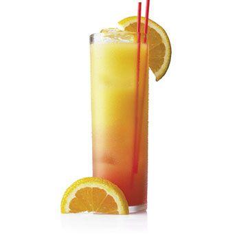 Tequila Sunrise  2 oz : Patrón Silver  4 oz : freshly squeezed orange juice  2 dashes grenadine syrup  orange slice for garnish