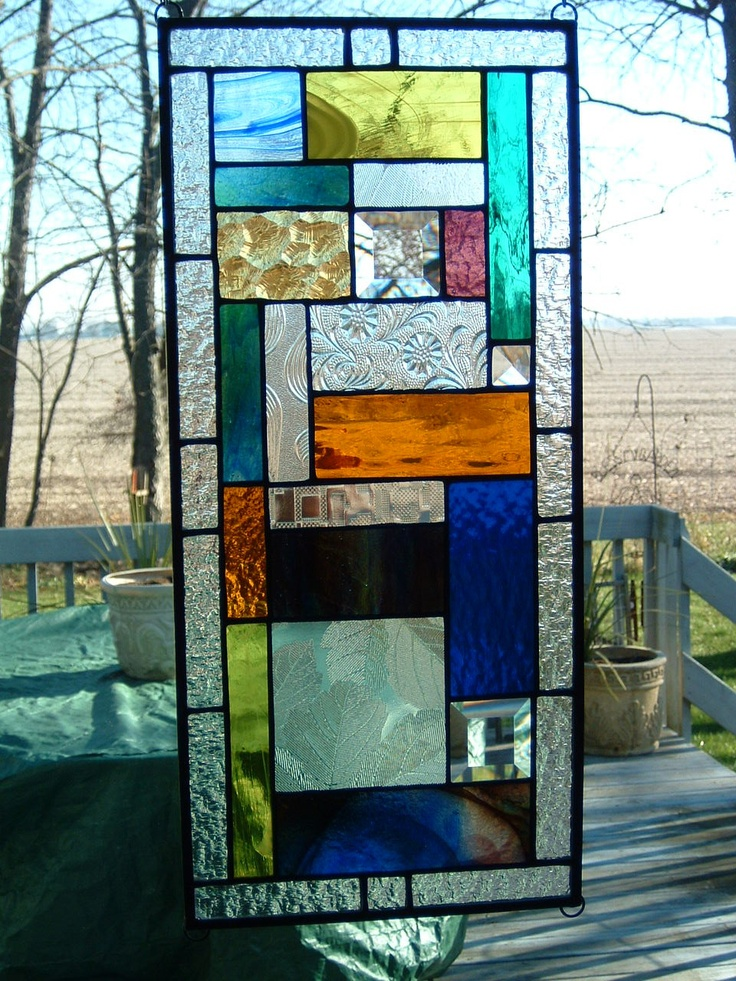 Geometric Stained Glass Prairie Panel by islandglass1 on Etsy