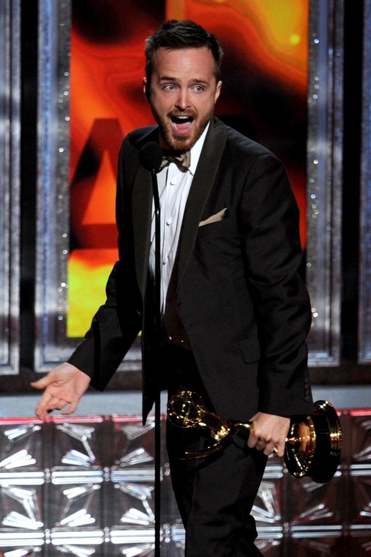 Actor Aaron Paul Accepts Outstanding Supporting Actor In A Drama Series Award For Breaking Bad Onstage During The Annual Primetime Emmy Awards At Nokia
