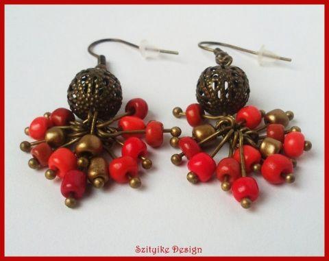 Vörös arany bogyós fülbevaló,  1100,-