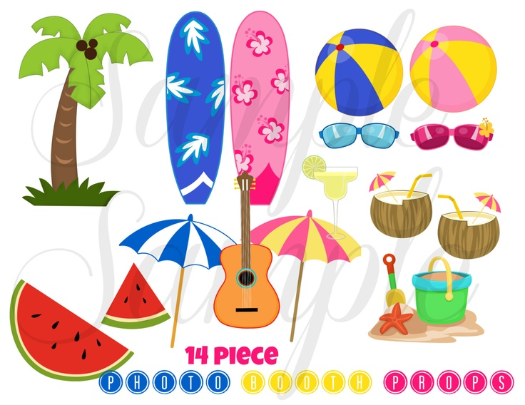 Tropical Themed Party Ideas Free Printables: INSTANT DOWNLOAD Summer Beach Party 16 Piece Photo Booth