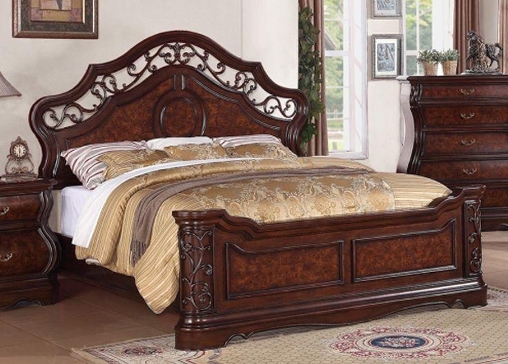 Meridian Alexandria Queen Panel Bed in Dark Wood