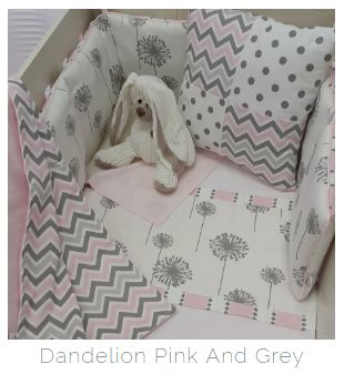 If you're looking for something on the side of girly for your #BabyGirl, then our #DandelionTheme, with a touch of #Chevron, is perfect for your nursery, in #Pink and #Grey!   #BabyBedding #BabyLinen