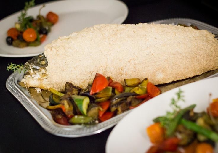 Sea bass baked in a crust of salt served with grilled vegetables and  extra virgin olive oil  Mořský vlk pečený v solné krustě servírovaný s grilovanou  zeleninou a panenským olivovým olejem / Valentine's day menu / Epopey