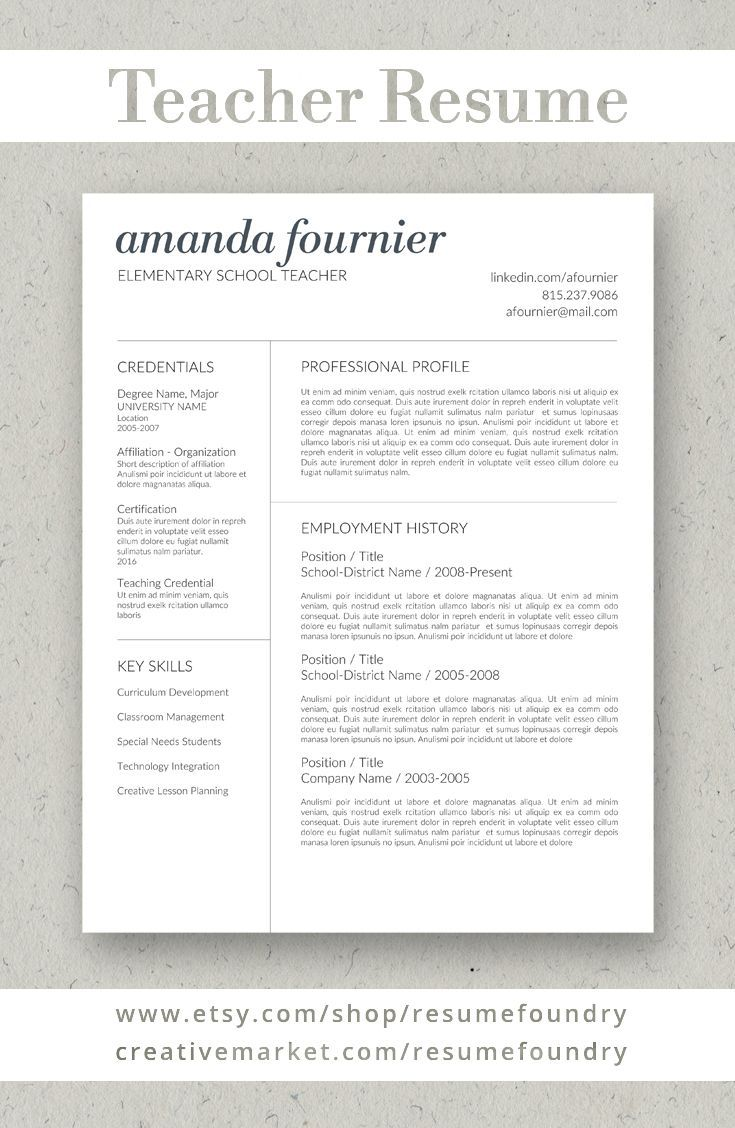 Teacher Resume Template For Word 1 3 Page Resume Cover Letter