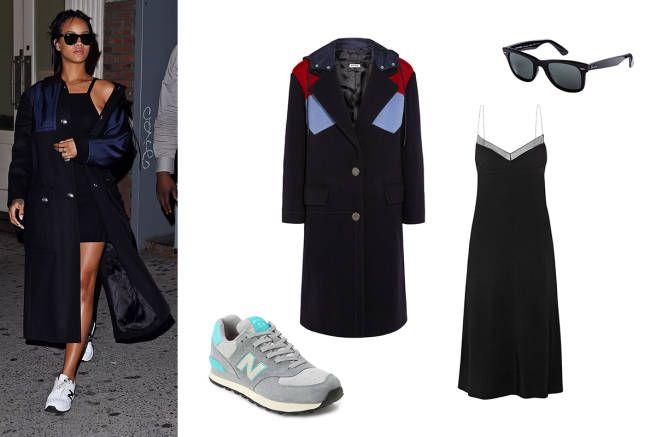 Rihanna in 9/14 in New York City: wool coat, stretch-crepe dress, running sneakers, polarized wayfarers