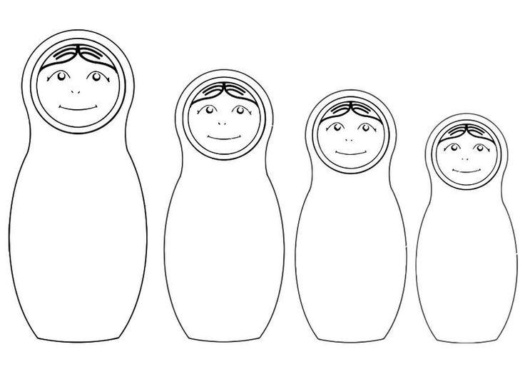 russian nesting dolls coloring page | Coloring page Matryoshka dolls - img 19776.