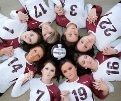 Team picture idea. Instead of a volleyball team, a softball team. With a glove, bay, and ball with ur team name on it
