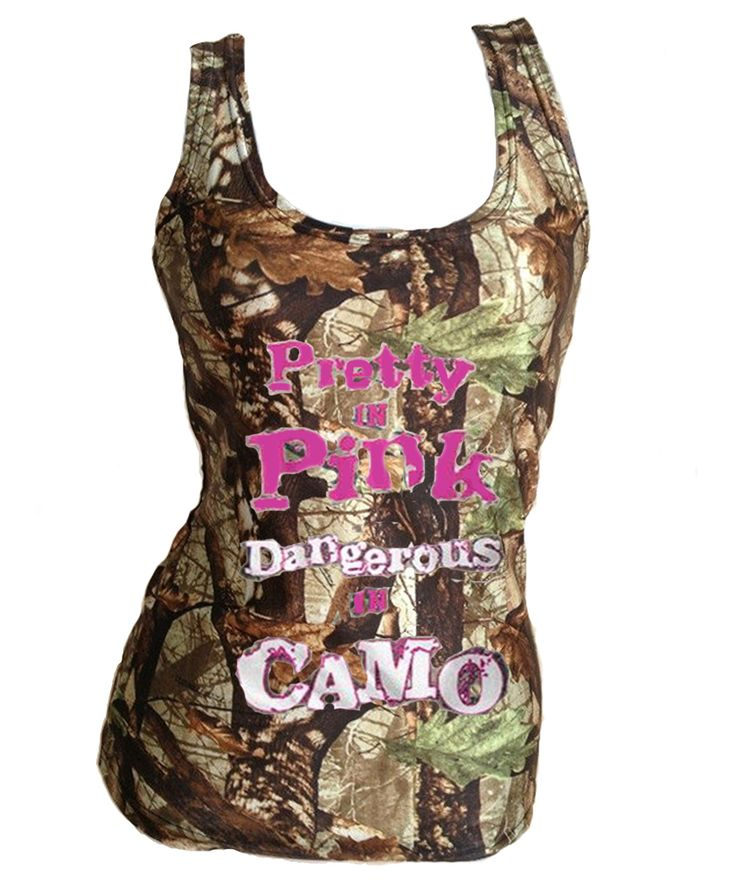 Pretty In Pink Dangerous In Camo Tank Tops