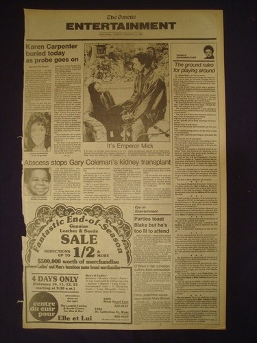 KAREN CARPENTER FUNERAL PROBE CAUSE DEATH FEBRUARY 8 1983 NEWSPAPER