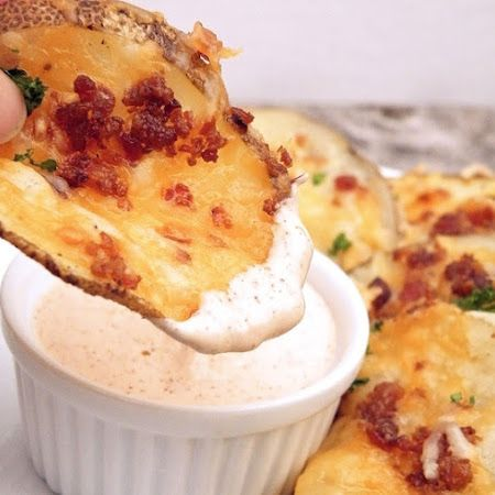 Cheesy Bacon Oven Chips with Chipotle Ranch Sauce