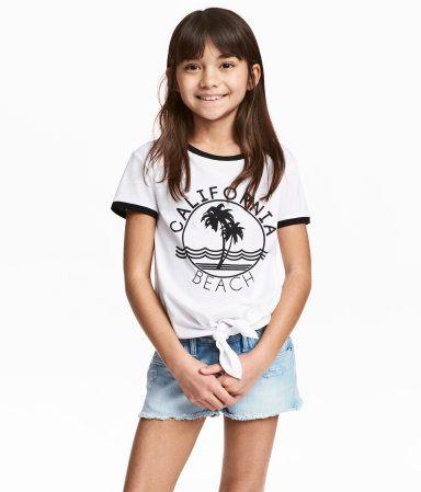 Top med bindedetalje | Hvid/California | Børn | H&M DK