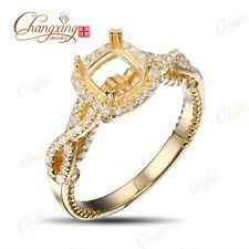 5.0mm Cushion Cut Natural Diamond 14K Yellow Gold Engagement Semi Mount Ring NEW in Jewelry & Watches, Engagement & Wedding, Engagement Rings, Settings Only | eBay