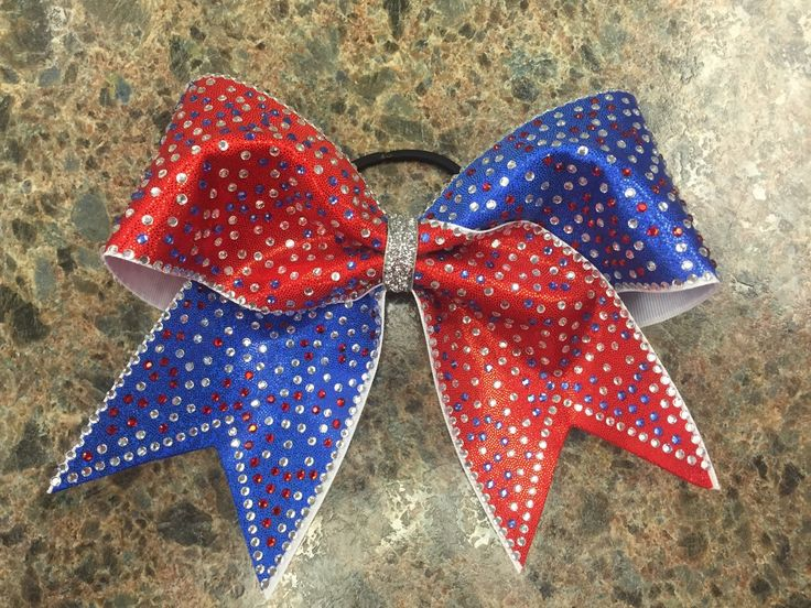 """3"""", 3 inch cheer cheerleader bow with red and blue spandex with red, blue and  clear rhinestones ALL OVER july 4th red white and blue by blingitoncheerbows on Etsy https://www.etsy.com/listing/233018514/3-3-inch-cheer-cheerleader-bow-with-red"""