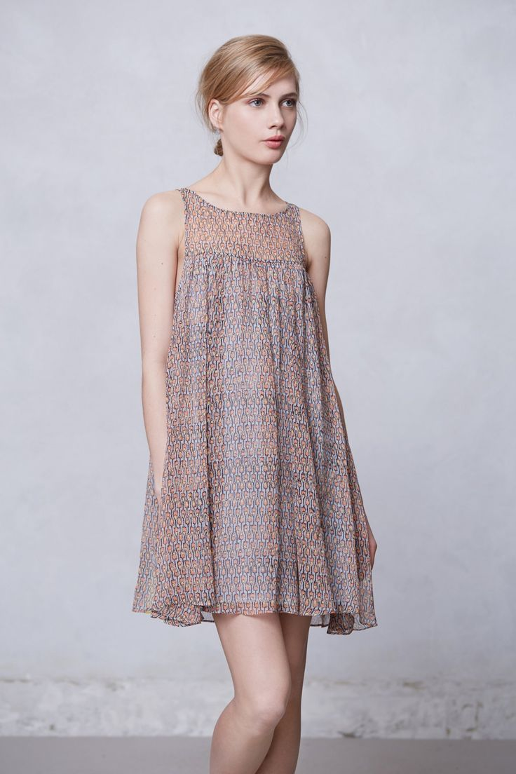 Rie dress variation idea - must try with a woven, and even more gathers // wood print swing dress @ anthropologie