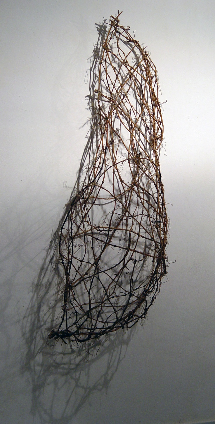 SHELTER by Stavroula Kaziale  branches of vines and threads of gute.