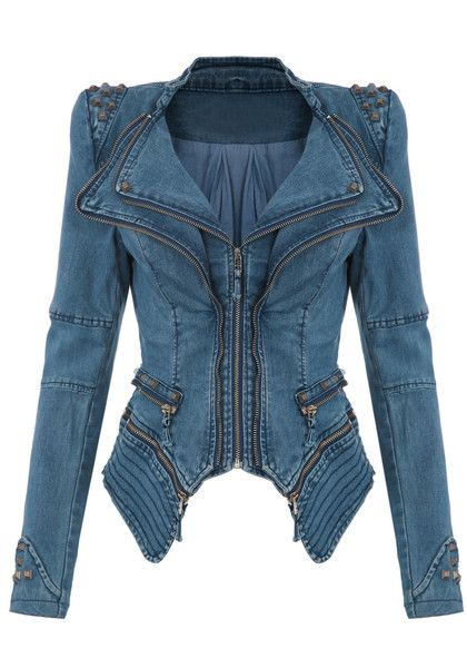 Studded Shoulder Denim Blazer - Blue - Super Cool Tuxedo Blazer Want!!