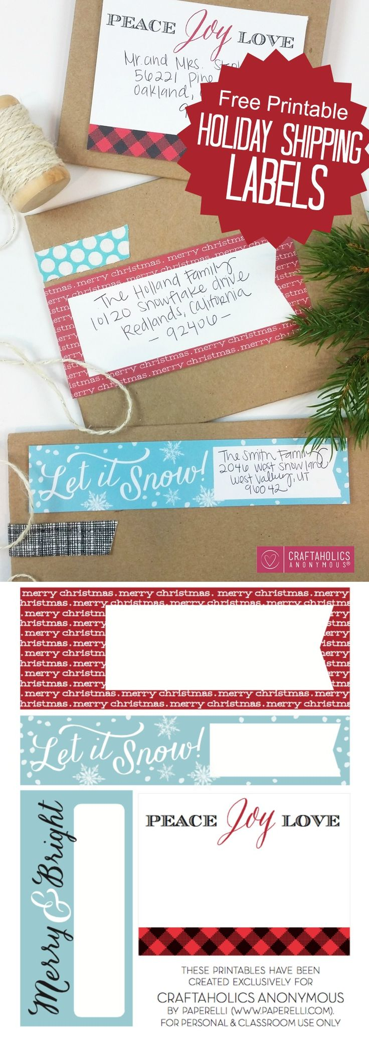 Free Printable holiday shipping labels. These are perfect for Christmas cards!! And gifts too.