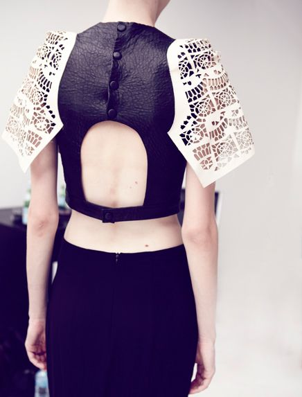 Leather button back top with contrasting laser cut, sculptural sleeve detail