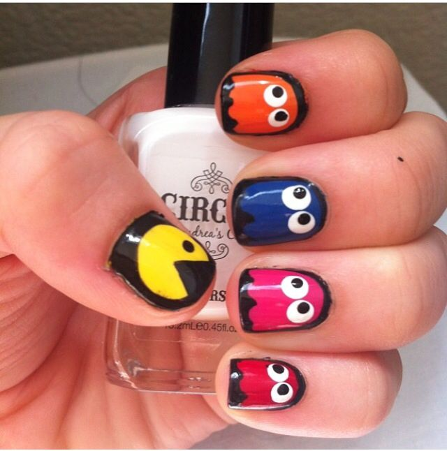 39 best pac man nails nail art design tutorial gallery by nded pac man nails prinsesfo Image collections