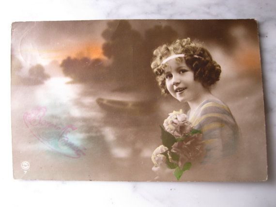 Antique France Photo Postcard. Sweet litlle Girls by grandma62
