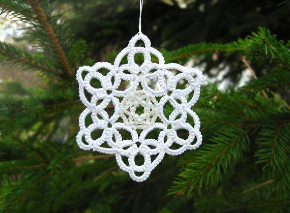 3 Christmas Snowflakes ornaments Tatted lace and by LandOfLaces