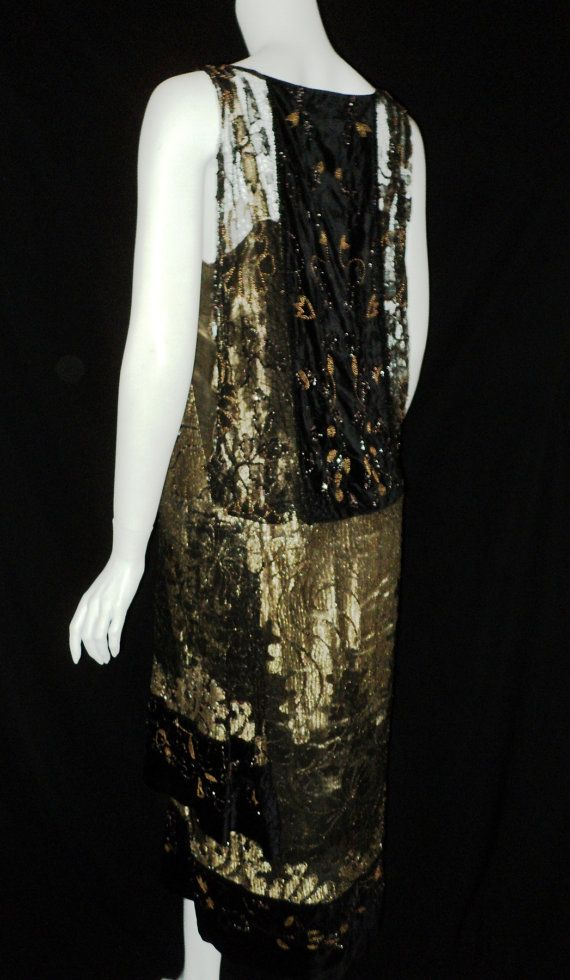 Art Deco Orientalist Period Metallic Lace Velvet Beaded Dress French Couture Rare Wearable 1920s (hva)