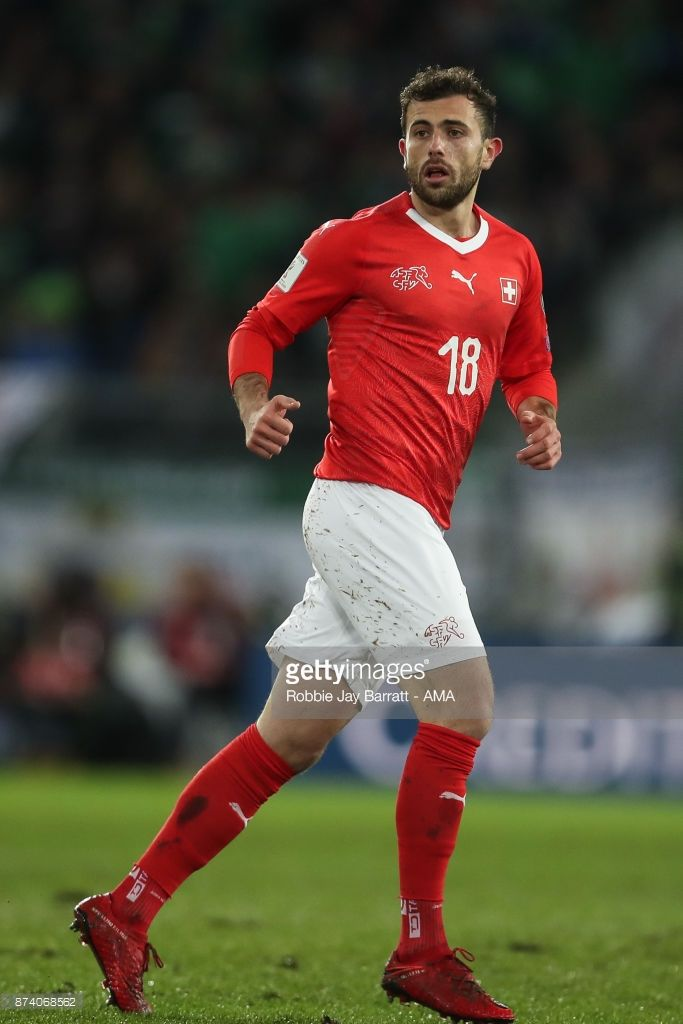 Admir Mehmedi of Switzerland during the FIFA 2018 World Cup Qualifier Play-Off: Second Leg between Switzerland and Northern Ireland at St. Jakob-Park on November 12, 2017 in Basel, Basel-Stadt. (Photo by Robbie Jay Barratt - AMA/Getty Images)