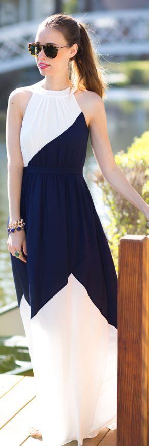 Shoshanna Black And White Side Hem Slit Sleeveless Halter Summer Maxi Dress by M Loves M