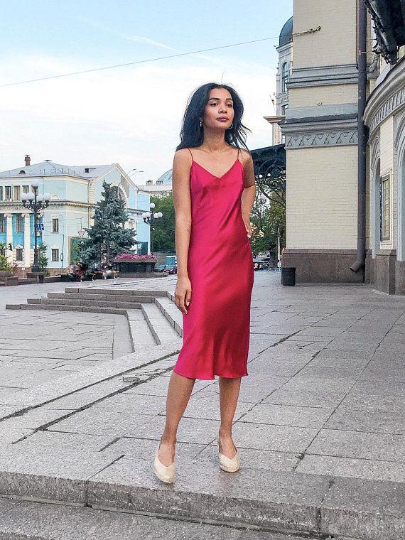 aa4023c1c71 Silk slip dress Silk date dress Silk bias gown Red silk chemise Pink  camisole Silk camisole
