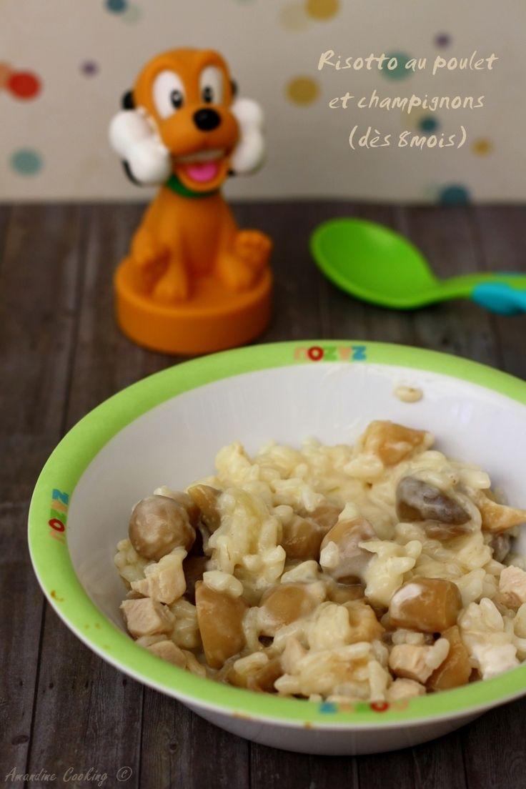 Voici une recette de grand adaptée aux petits ! Un bon risotto crémeux, aux champignons et poulet. Vous pouvez proposer ce plat dès 8mois, en morceaux si bébé les acceptent ou en le mixant. Les quantités sont approximatives et peuvent varier selon l'âge...