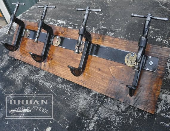 When I'm done, I'm going to have like ten coat racks. I'll need to buy more coats!! Industrial C Clamp Coat Rack ON SALE by urbanwoodandsteel on Etsy, $110.00