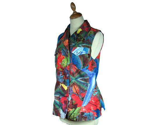 Vintage CHRISTIAN LACROIX sleeveless jacket Patchwork pattern