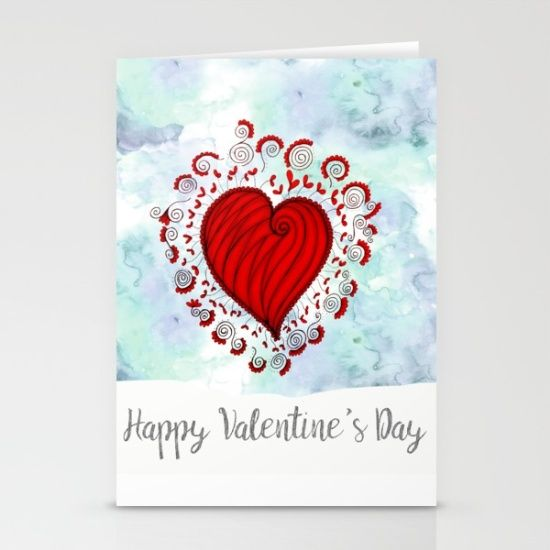 Watercolor zen style love heart Stationery Cards