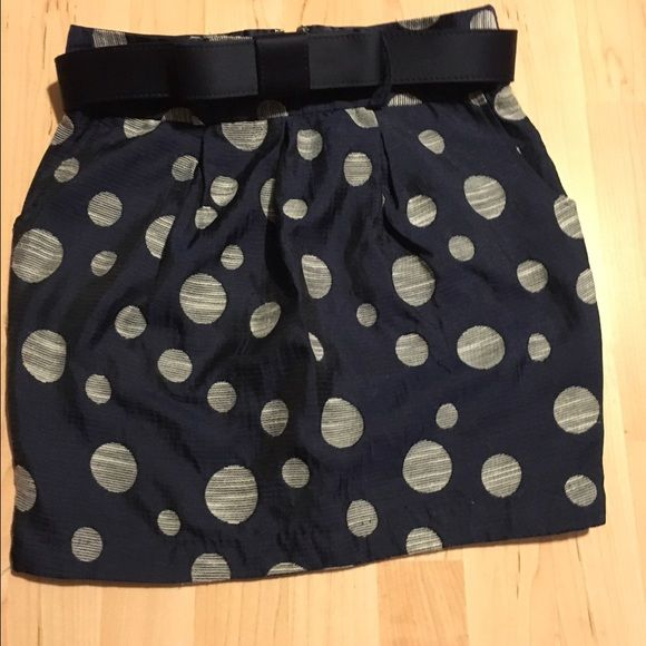 Navy blue with beige bubbles skirt It is sort of a balloon fitted skirt. Comes with cute bow belt and is very comfy. Great condition. Worn once. Charlotte Russe Skirts Midi