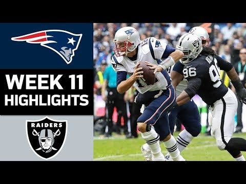 The New England Patriots take on the Oakland Raiders in Week 11 of the 2017 NFL Season