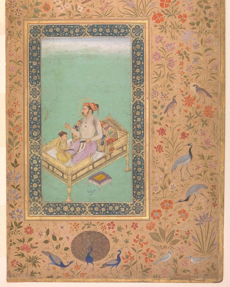 3. Nanha The Emperor Shah Jahan with his Son Dara Shikoh (Folio from the Shah Jahan Album) ca. 1530-1550 Metropolitan Museum of Art New York #peacock #story #art #arthistory #newyork