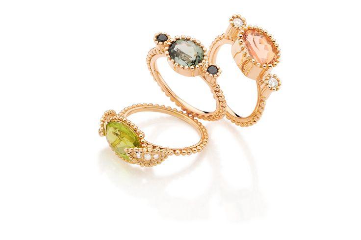 Anéis Adelaide,topázio imperial, turmalina verde, peridoto e diamantes ouro rosé/ Adelaide Rings imperial topaz, green turmaline, peridot and diamonds in rosé gold 18k #fabimalavazi