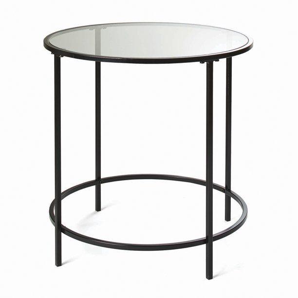 Better Homes Gardens Nola Side Table Black Finish In 2020 Black Side Table Glass Side Tables Side Table