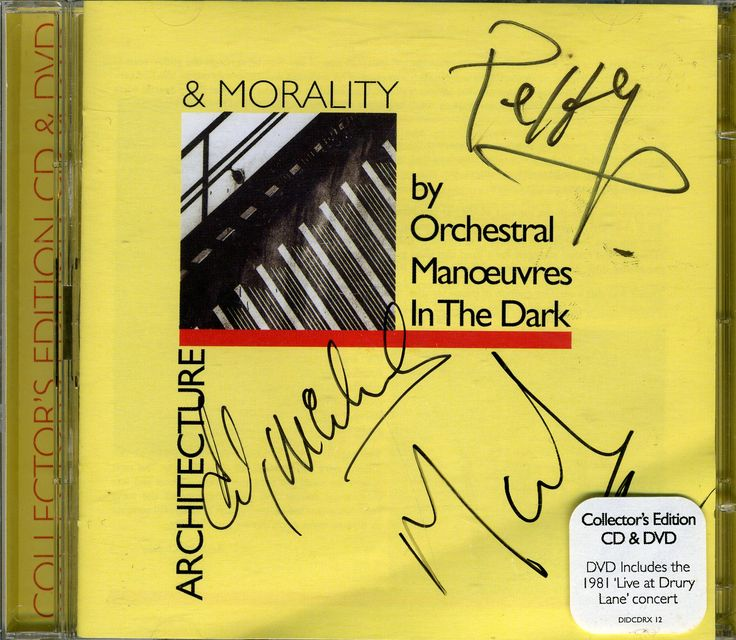 OMD Architecture & Morality CD & DVD collectors edition artwork signed by Andy McCluskey, Paul Humphreys & Martin Cooper